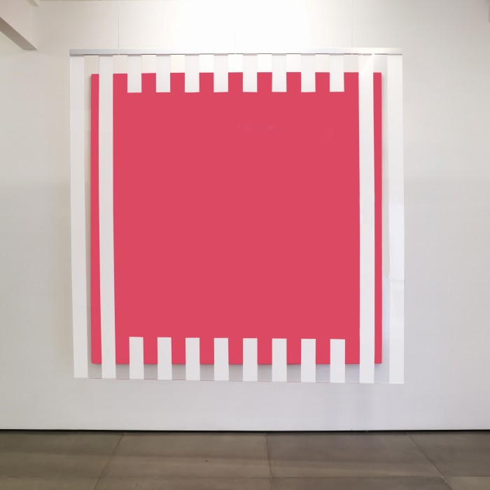 daniel buren cores, luz, projeção sombras, transparência: obras situadas pink, 2015