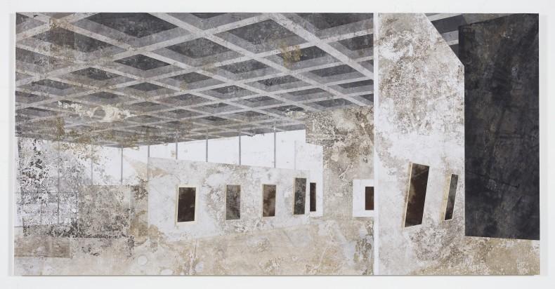 Daniel Senise Neue Nationalgalerie, 2019 monotipia de piso de cimento em tecido e médium acrílico sobre placa de alumínio 150...