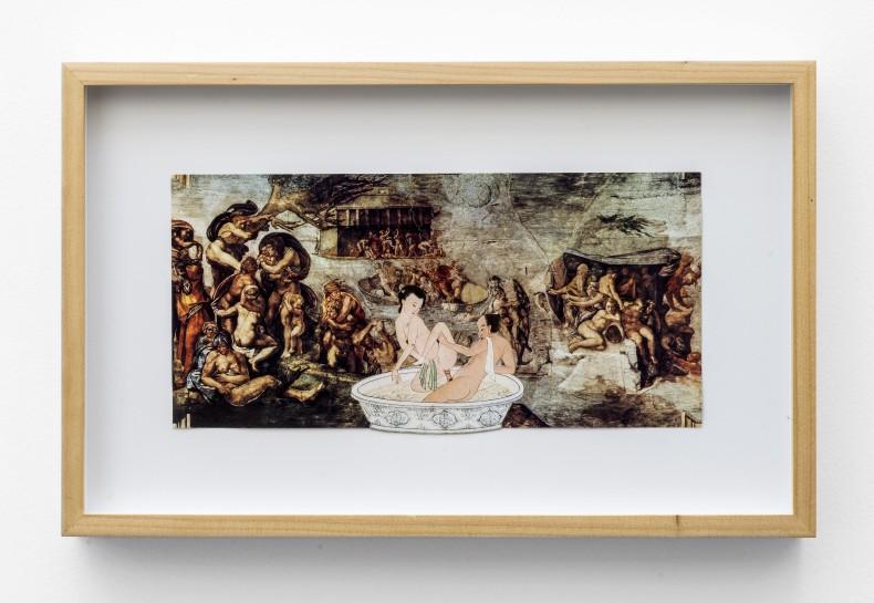 """León Ferrari Sem título, 1987 colagem de imagem erótica oriental sobre reprodução de """"Dilúvio"""" do Michelangelo sobre papel 13,5 x..."""