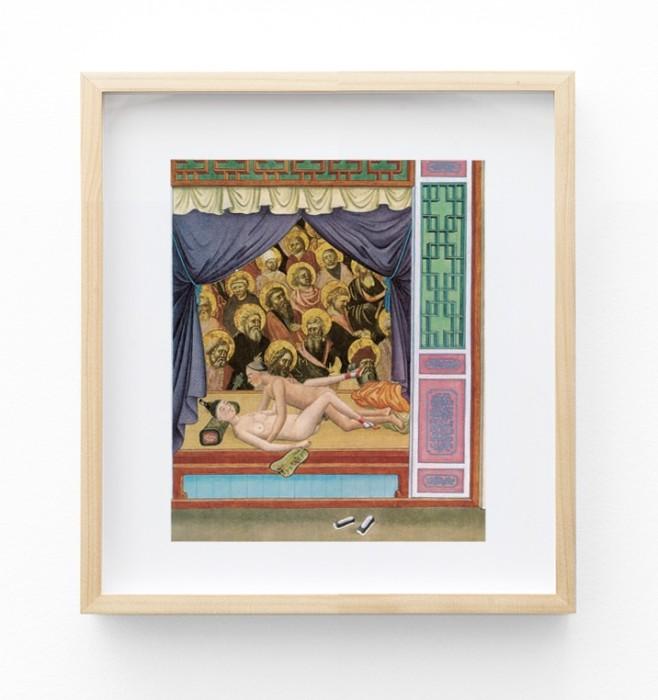 León Ferrari Sem título, da série Releituras da Bíblia, 1988 colagem de imagem erótica oriental sobre imagem sacra 25 x...