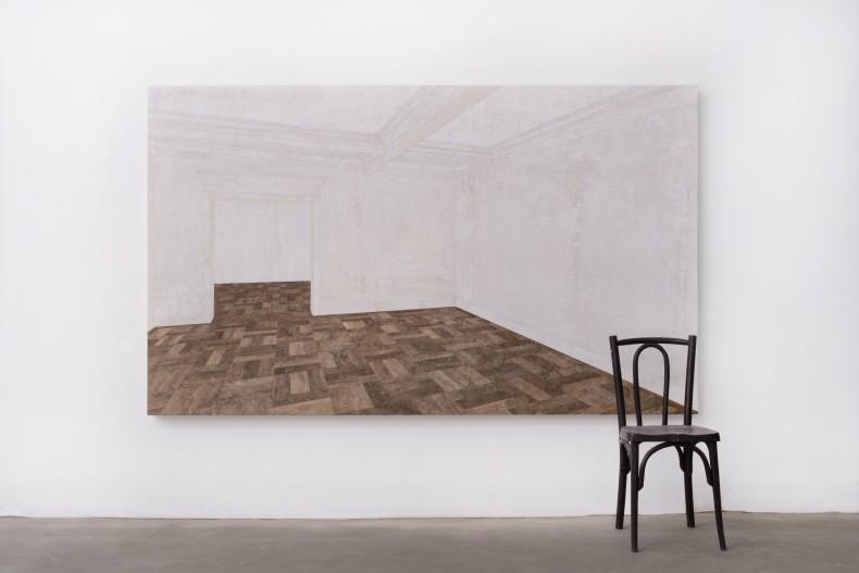 Daniel Senise Sem título, 2020 monotipia de piso de cimento, madeira e massa acrílica em tecido sobre placa de alumínio,...