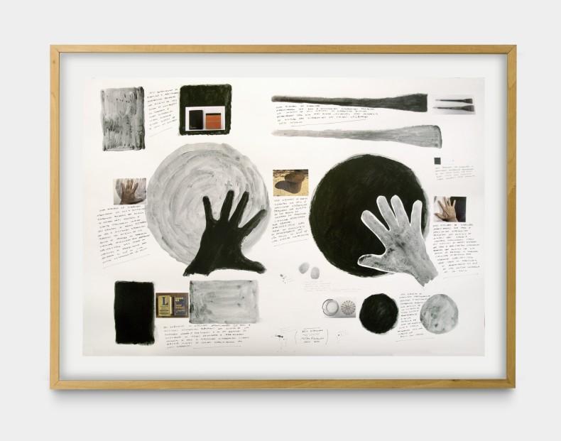Milton Machado, Dois círculos (Warchavchik), 2020 tinta acrílica, lápis e colagem sobre papel 70 x 100 cm