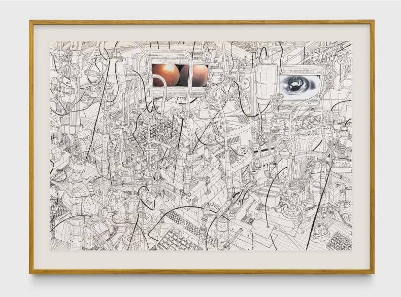 Milton Machado, Num piscar de olhos, 2017 nanquim e colagem sobre papel 70 x 100 cm