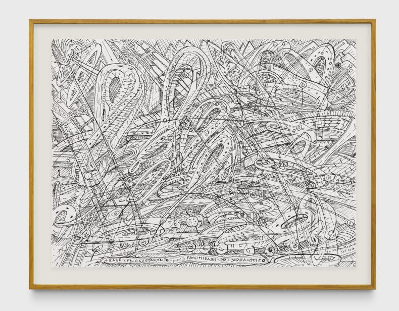 Milton Machado, Grave engavetamento nas proximidades do borracheiro, 2017 nanquim sobre papel 30 x 40 cm