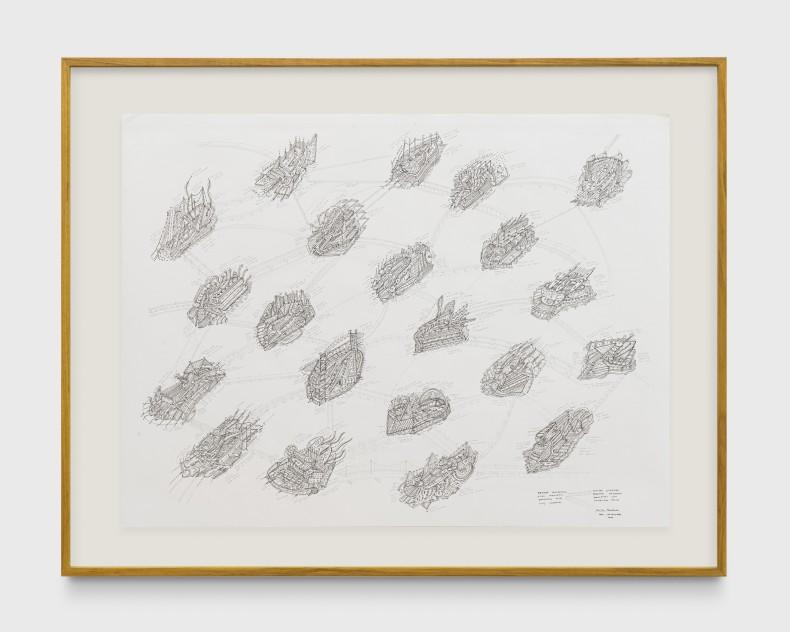 Milton Machado, Pontes ligando pequenos desenhos graciosos com legendas, 2019 tinta acrílica, nanquim e grafite sobre papel 75 x 100 cm
