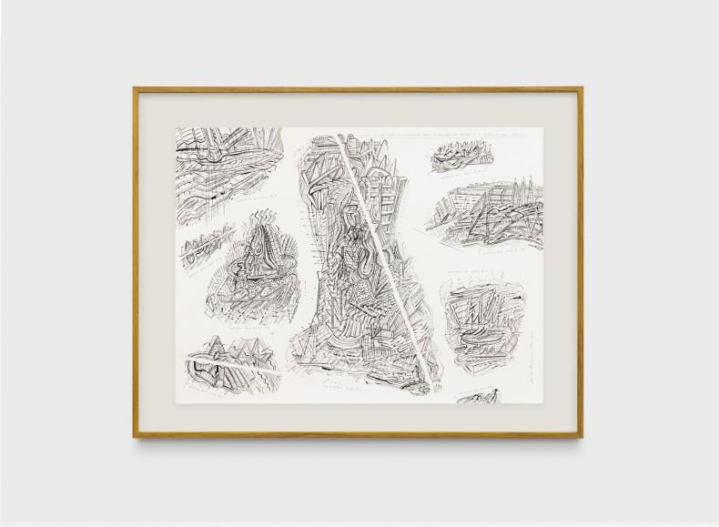 Milton Machado, Desenho em que cabem 3 desenhos que cabem, 3 desenhos que faltam e 3 desenhos que sobram, 2019 tinta acrílica, nanquim e grafite sobre papel 42 x 56 cm