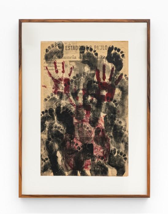 Emergências, 1973 tinta de carimbo e acrílica sobre jornal 58,5 x 38 cm | 23 x 15 in