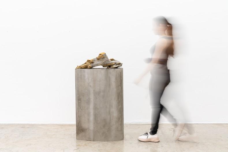 Dragão cantor, 2007 pedra perfurada sonora sobre coluna de concreto 121 x 67 x 27 cm | 47.6 x 26.4 x 10.6 in