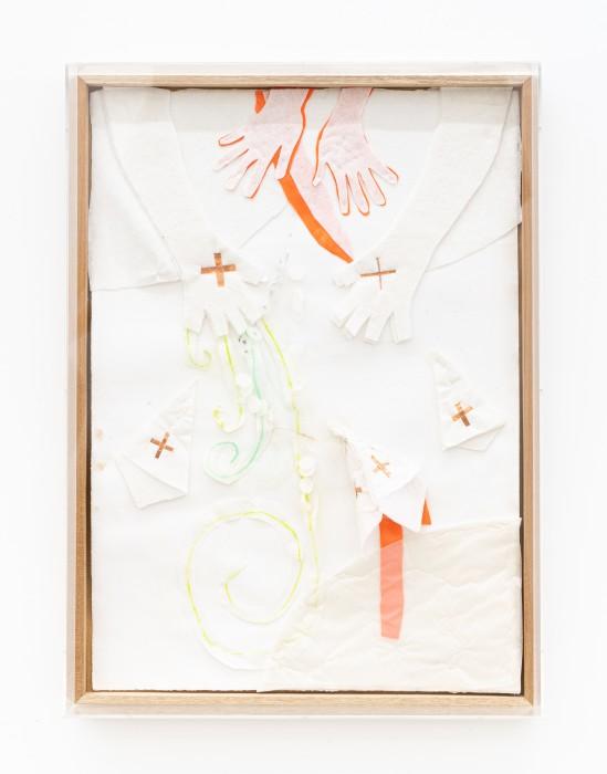 Karin Lambrecht Nascimento do vento, 2015 cetim laranja, pastel seco, feltro branco, cruzinhas de cobre, recortes, costuras e alfinetes sobre...