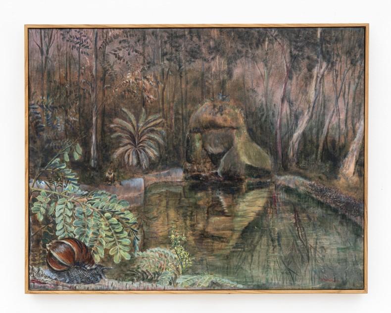 Alberto Baraya Caracol gigante africano sobre palo brasil (Achatina fulica sobre Caesalpina echinata), 2018 tinta óleo sobre linho 55,5 x...