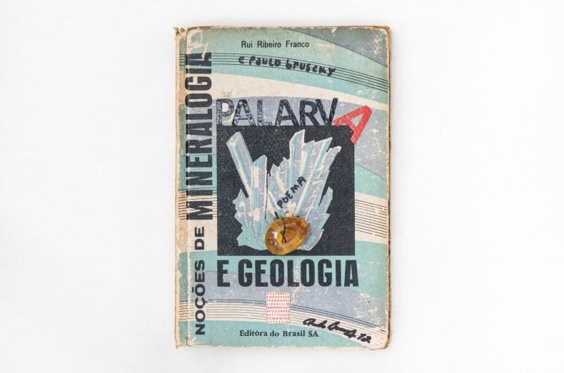 Paulo Bruscky Palarva - Noções de mineralogia e geologia, 2012 interferências mistas sobre capa de livro e pedra 21,5 x...