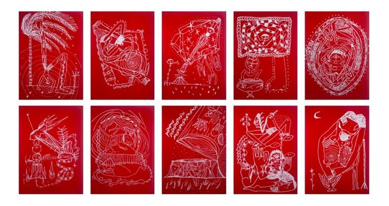 """Gustavo Caboco Série """"onde estão os ossos dos seus parentes?"""", 2020 caneta branca sobre papel 10 peças de 29,7 x..."""