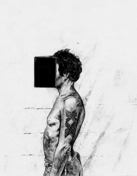 Filipe Lippe Índio evangelista, da série Weltwehmut, 2020 grafite sobre papel 21 x 14 cm