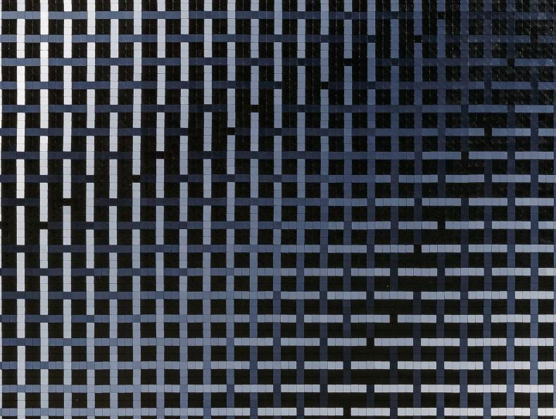 José Patrício Tramas tonais V, 2020 [detalhe] peças de quebra-cabeças de plástico sobre madeira 190 x 190 x 4 cm