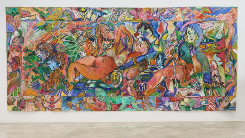 Maya Weishof Depois daqui, 2021 tinta óleo, pastel oleoso, pastel seco e costura sobre linho 250 x 528 cm