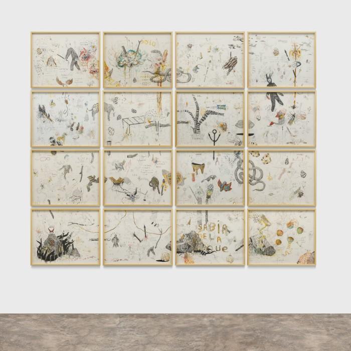 Virgílio Neto Electric Dreams, 2021 grafite, aquarela, lápis de cor e pastel sobre papel 16 peças de 40 x 50...