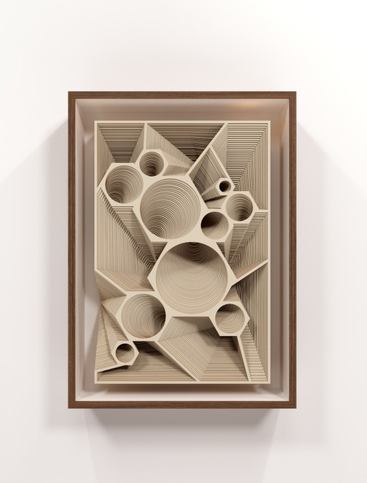 Marco A. Castillo Low Relief with 10 circles and 10 polyhedric depressions, 2020 cartão 77 x 51,5 x 12 cm