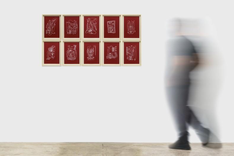 """Gustavo Caboco série """"a lágrima da paisagem ancestral"""", 2020 caneta branca sobre papel 10 peças de 29,7 x 21 cm"""