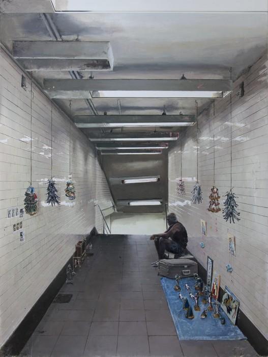 André Griffo O vendedor de miniaturas 2, 2021 acrílica e óleo sobre tela 177 x 133 cm