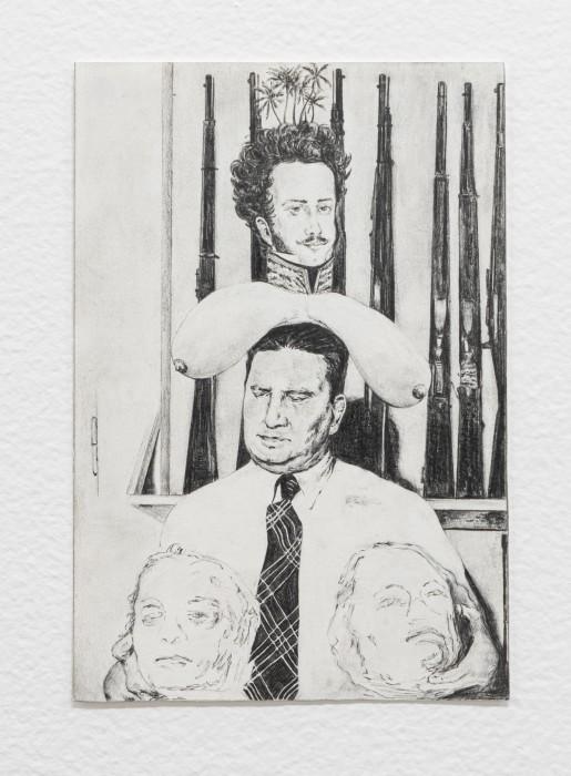 Filipe Lippe Weltwehmut - Cabeça (Lampião, Maria Bonita, Dom Pedro I), 2020 grafite sobre papel 19,3 x 13,2 cm