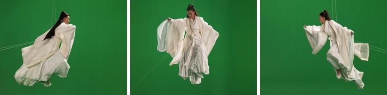 green screen goddess, triptych (ten thousand waves), 2010