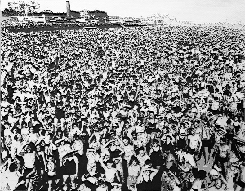 pictures of paper: crowd at coney island, 89º, they came early and they stayed late, july 1940, after weegee, 2009