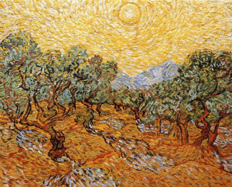pictures of pigment: olive trees with yellow sky and sun, after van gogh, 2007