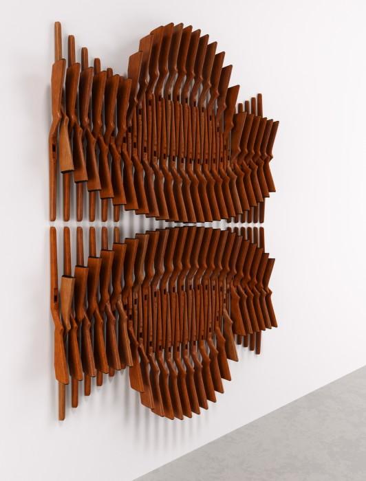 Marco A. Castillo Ivan # 03, 2020 madeira / wood 250 x 180 x 17 cm / 98.4 x 70.9...