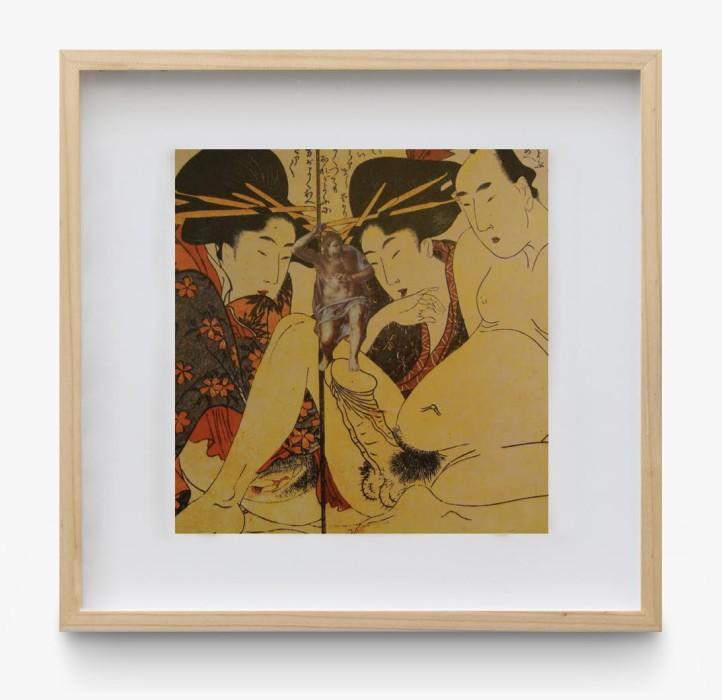 León Ferrari Sem título, 1987 escritura em braile sobre reprodução de imagem erótica chinesa do selo de Utamaro sobre papel...