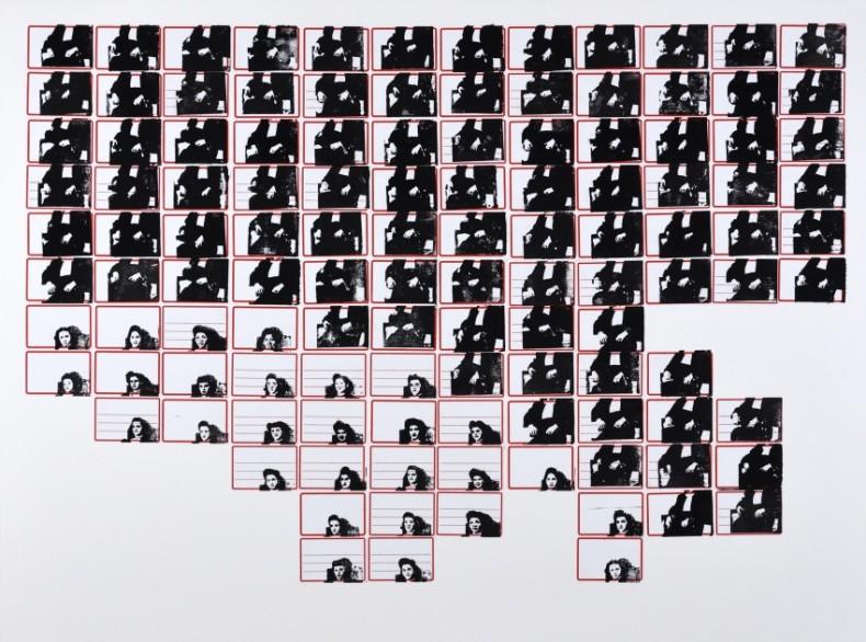Leila Danziger Minha mãe, da série pesquisa escolar, 2021 carimbo (tinta gráfica) sobre etiqueta e cartão 76 x 102 cm
