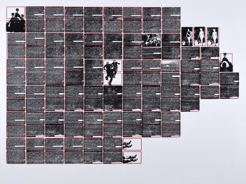 Leila Danziger A taça do mundo é nossa, da série pesquisa escolar, 2020 carimbo (tinta gráfica) sobre etiqueta e cartão...