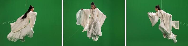 isaac julien, green screen goddess, triptych (ten thousand waves), 2010