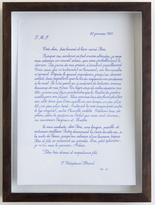 danh vo, the project, 02.02.1861, [last letter of saint théophane vénard to his father before he was decapitated], 2009