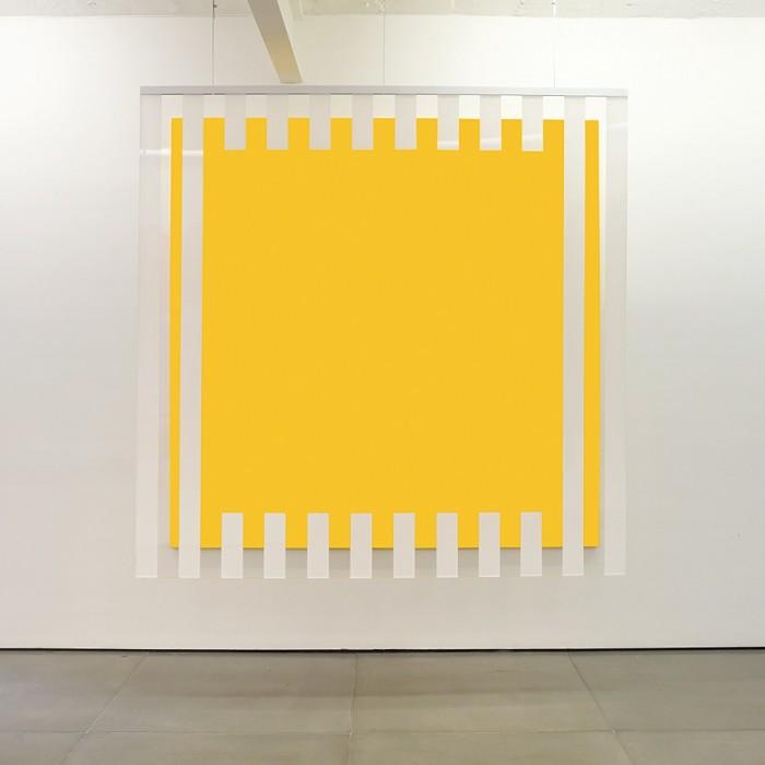 daniel buren, cores, luz, projeção, sombras, transparência: obras situadas yellow, 2015