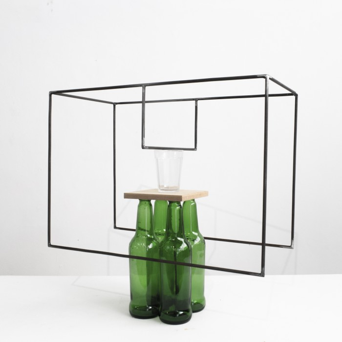 Raul Mourão 4 beers (to Guto Lacaz), 2019 carbon steel with synthetic resin, glass and wood 46 x 50 x 25 cm