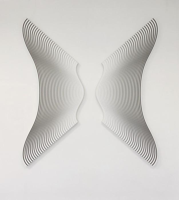 Philippe Decrauzat 01 fragment delay, 2019 acrylic paint on canvas 2 pieces de 160 x 60 cm (each)