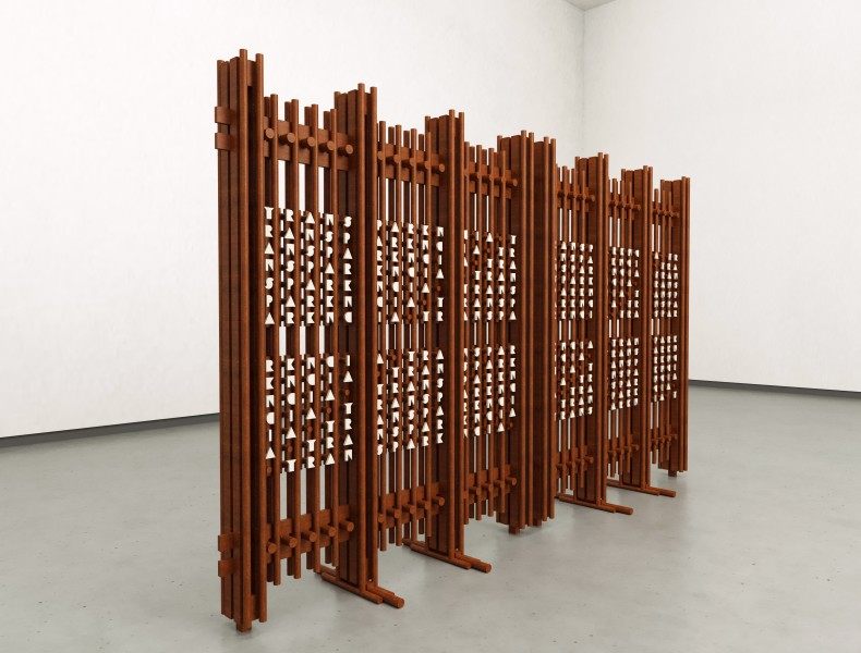 Marco A. Castillo Galván 2 (Seções I e II), 2020 madeira / wood 225 x 195 x 60 cm (cada)...