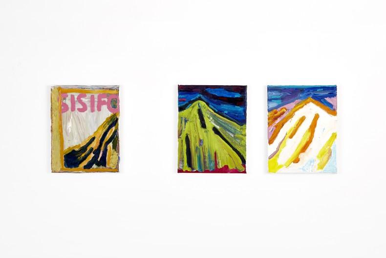 Bruno Dunley Sisifo, 2016 tinta óleo sobre tela / oil paint on canvas 3 pieces of 25,5 x 20cm /...