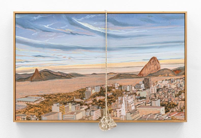 Alberto Baraya Rio desde Parque de las Ruínas, 2018 tinta óleo sobre tela, pedra e corda / oil paint on...