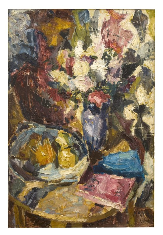 <span class=%22title%22>Flowers, Book and Fruit on Round Table<span class=%22title_comma%22>, </span></span><span class=%22year%22>1961</span>
