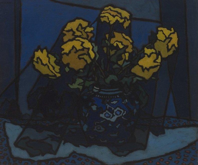 <span class=%22title%22>Dahlias in Blue Vase<span class=%22title_comma%22>, </span></span><span class=%22year%22>c. 1955</span>