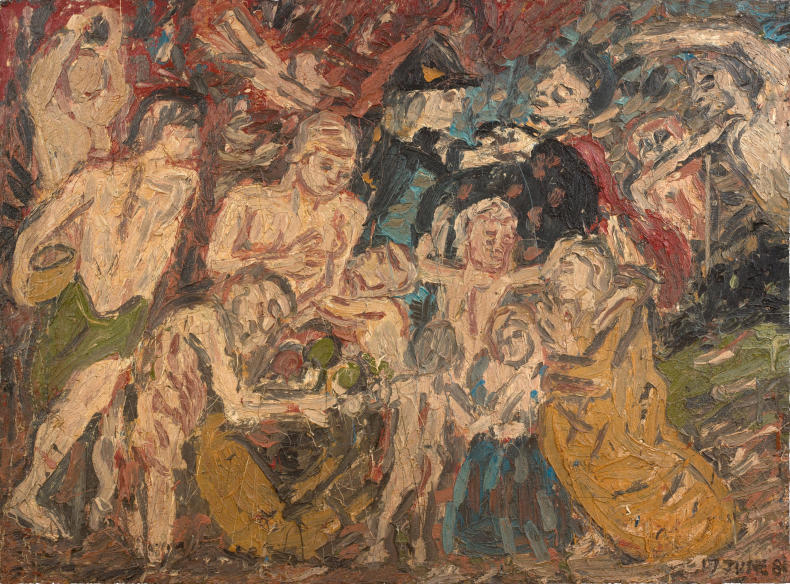 Leon Kossoff, Study from 'Minerva Protects Pax from Mars' by Rubens, 1981