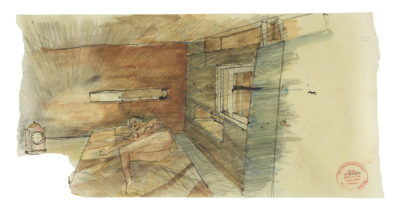<span class=%22title%22>Sketch of House 3 Bedroom, showing light reflections from gilded clock<span class=%22title_comma%22>, </span></span><span class=%22year%22>2015</span>
