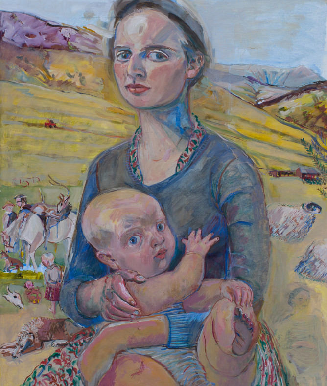 Phoebe Cope, Self portrait with baby in the Southern Uplands of South Lanarkshire , 2016