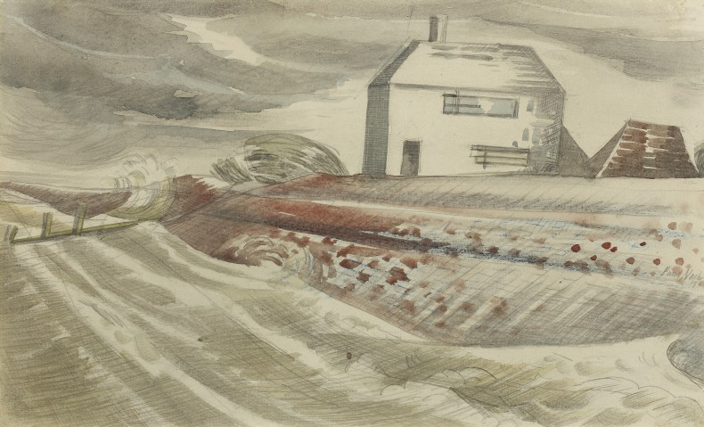 Paul Nash, Cottage in a Windswept Landscape, 1922