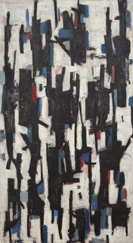 Leo Davy, Blue and red Abstract, 1955