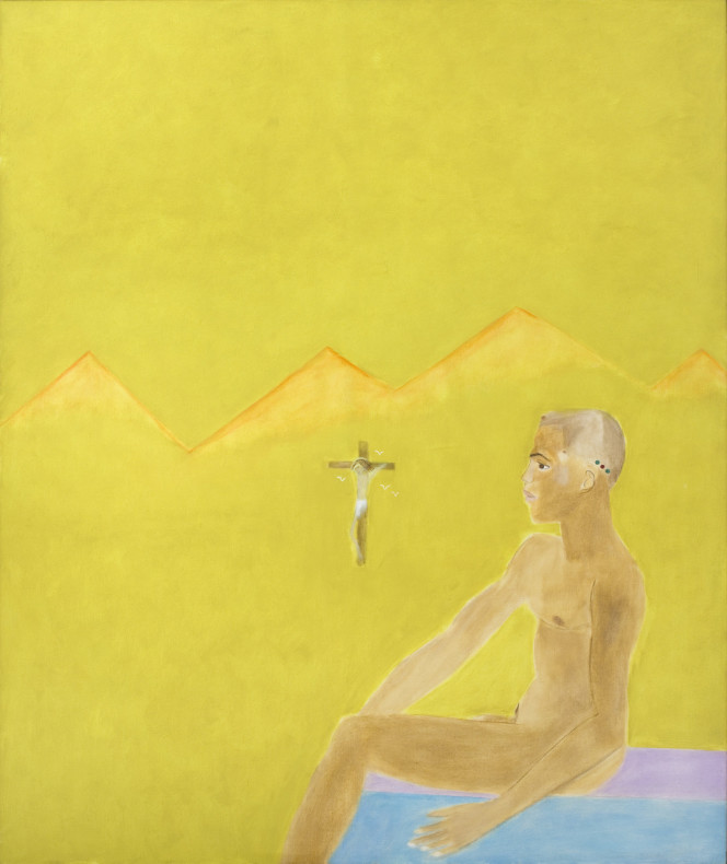 <span class=%22title%22>Boy Seated with Crucifixion<span class=%22title_comma%22>, </span></span><span class=%22year%22>1985</span>