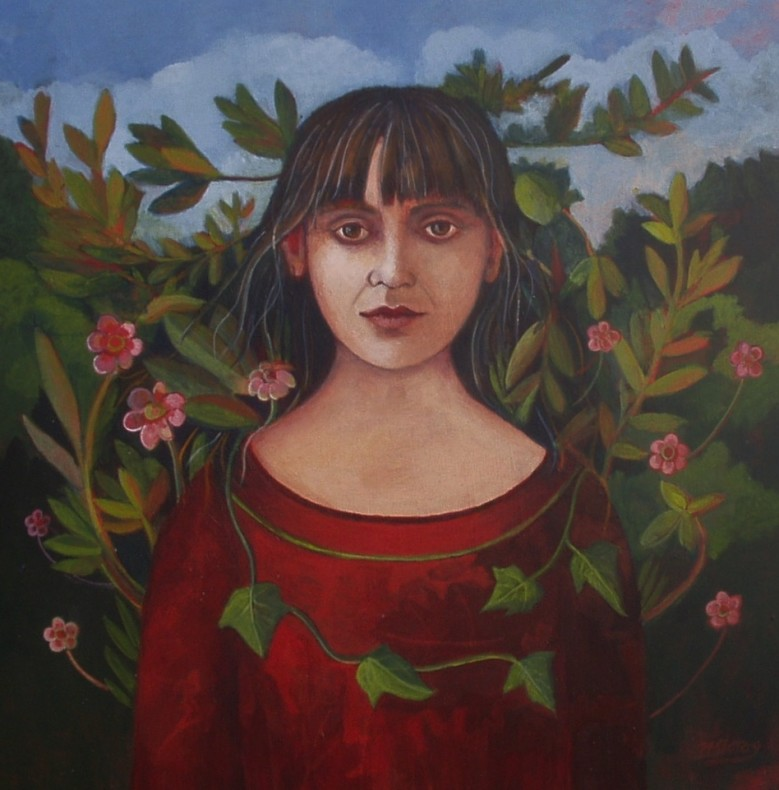 Nicola Slattery, Self-Portrait with Leaves  SOLD