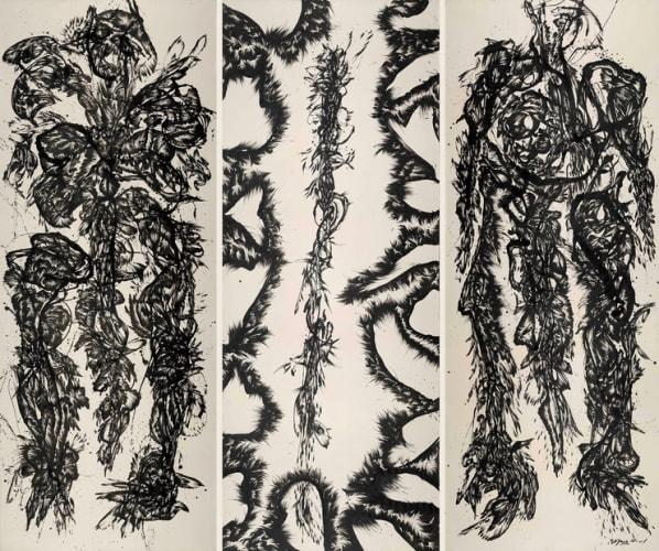 Huang Zhiyang, Zoon-Beijing Bio No. 1001, 2010, Ink on silk, 140 x 360 cm x 3P.