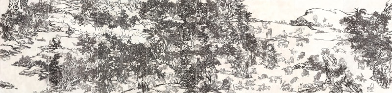Yang Jiechang, Black and White Mustard Seed Garden: Tale of the 11th Day series, Ink and mineral pigments on silk, mounted on canvas, 8 panels, each ca. 280 x 141 cm